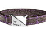 Stitched Leather Bracelet - Purple