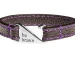 Stitched Leather Bracelet - Purple