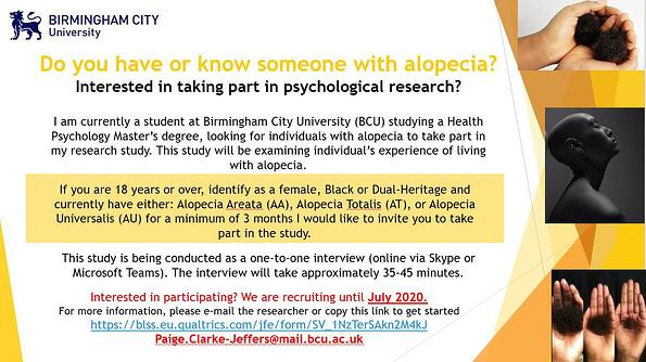 Do you have or know someone with alopecia? Interested in taking part in psychological research?